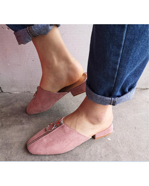 Square Toes Zipper Mules