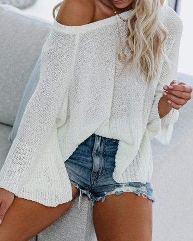 Back Cut-out Strap Bell Sleeve Loose Sweater