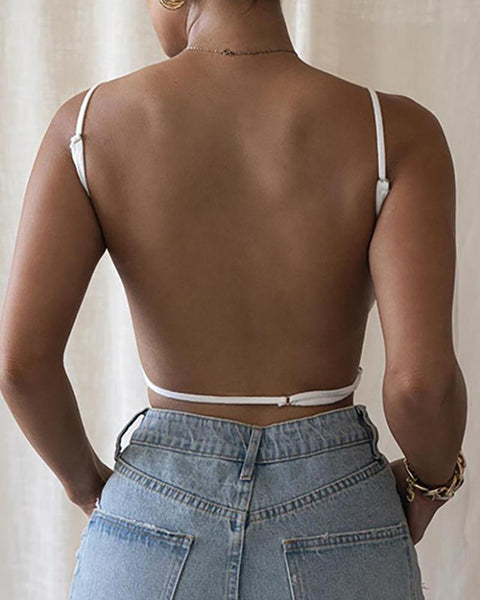 Solid Spaghetti Strap Backless Top