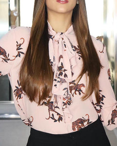 Floral Print Tied Neck Casual Shirt