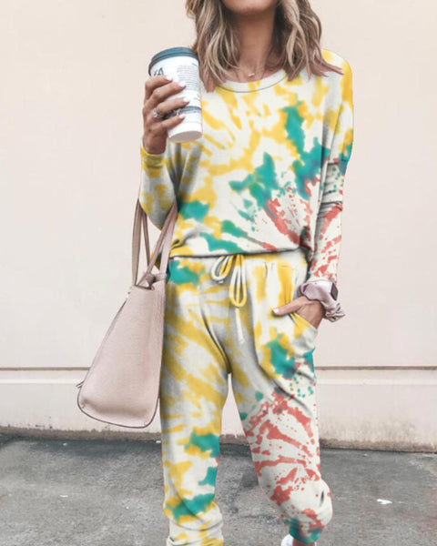 Tie Dye T-shirt Pants Homewear Two-piece
