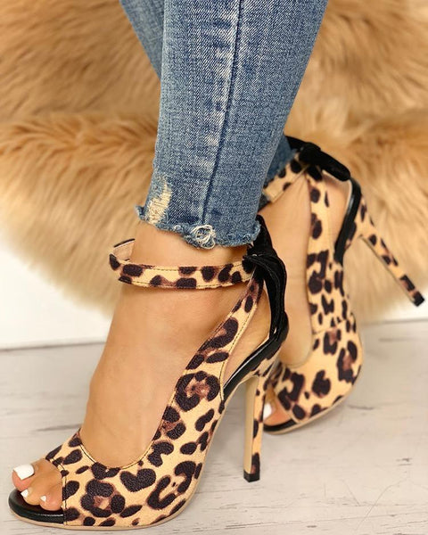Leopard Bow Detail Thin Heeled Sandals