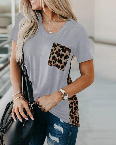 Contrast V-Neck T-Shirt