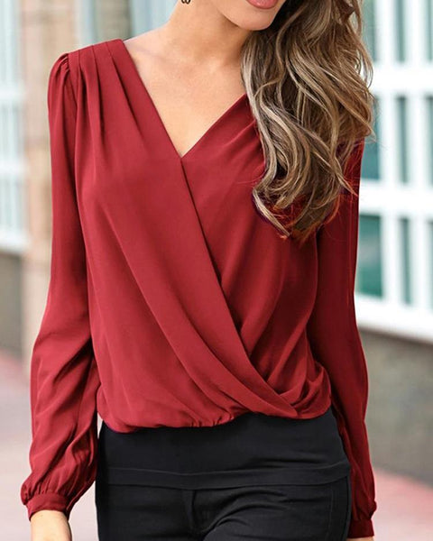 Lace Crochet Back Surplice Front Blouse
