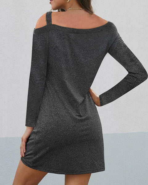Cold Shoulder Solid Twisted Dress