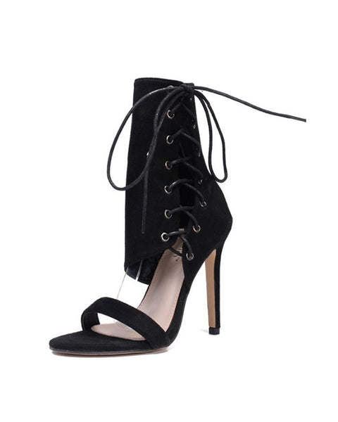 Cut Out Pointed Heeled Sandals