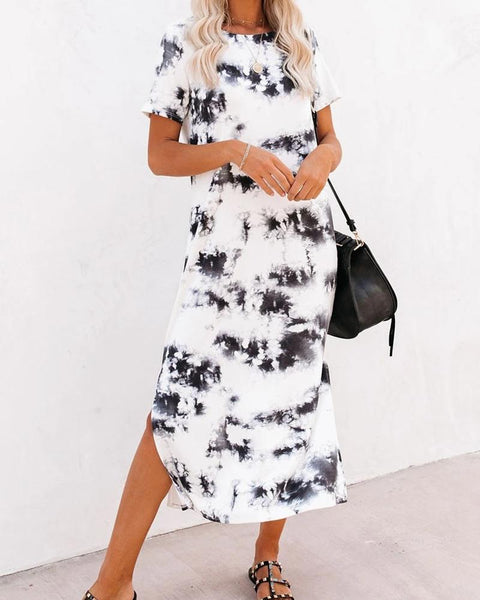 Print Round Neck Split Dress