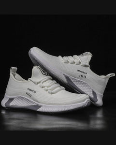 Solid Lace-Up Mesh Breathable Sneakers