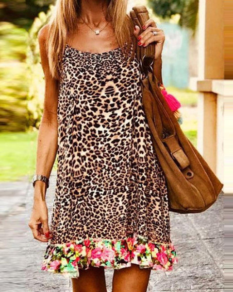 Floral Cheetah Print Mini Dress