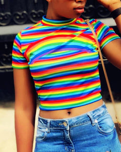 Rainbow Striped Slim Fit Cropped TOP