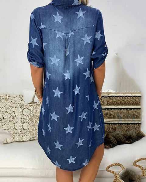 Star Print Denim Min iDress