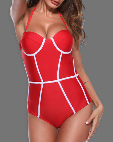 Halter Contrast Piping Colorblock One Piece Swimsuit