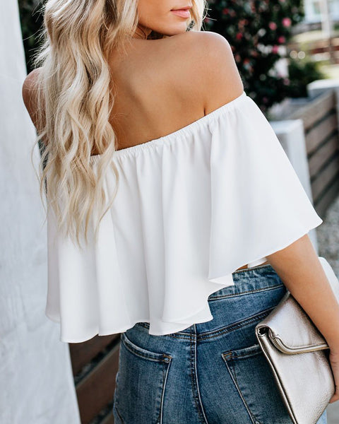 Off Shoulder Ruffles Solid Casual Top