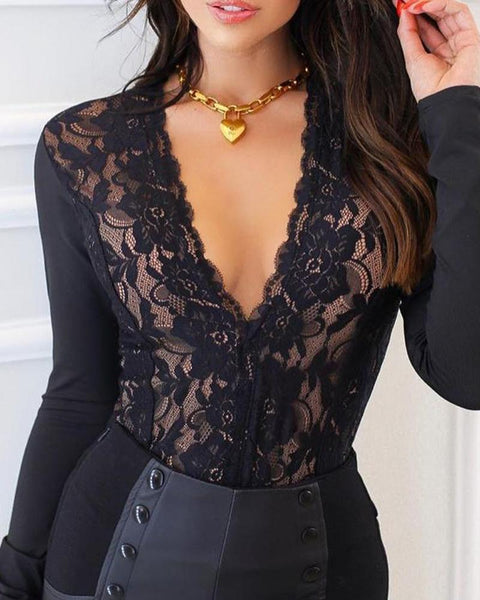 Eyelash Crochet Lace Plunge Top