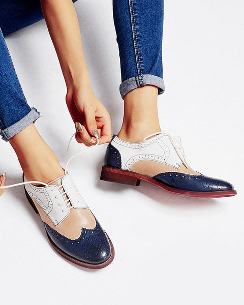 Contrast Color Perforated Lace-Up Oxfords