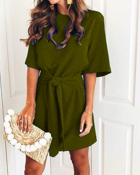 Solid Short Sleeve Self-Belted Casual Dress