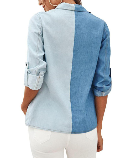 Contrast Button-Up Denim Shirt