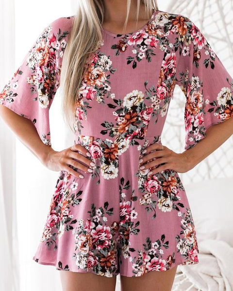 Stylish Floral Print Backless Playsuit