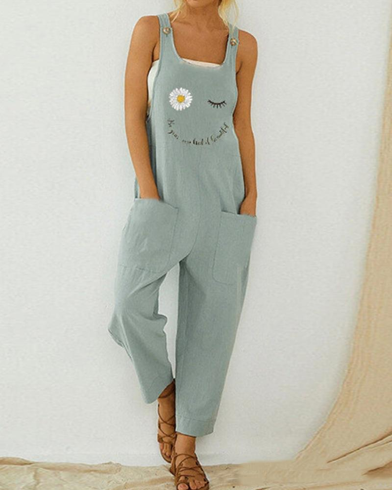 Daisy Print Pocketed Overall Jumpsuit