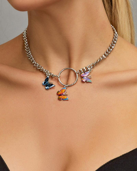 Bohemian Vintage Colorful Butterfly Pendant Necklace