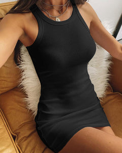 Ribbed Sleeveless Bodycon Dress