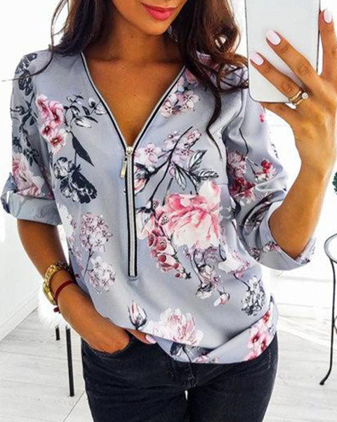 Floral Print Zip Up Top