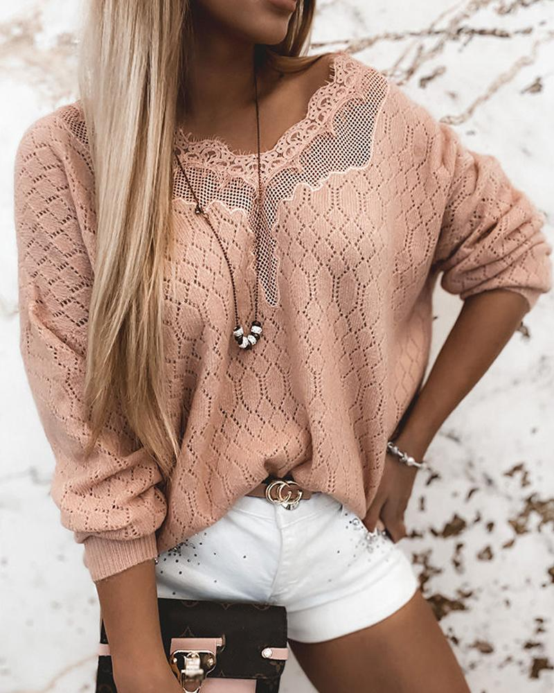 Lace Splicing Long Sleeve Loose Cut-out Loose Sweaters