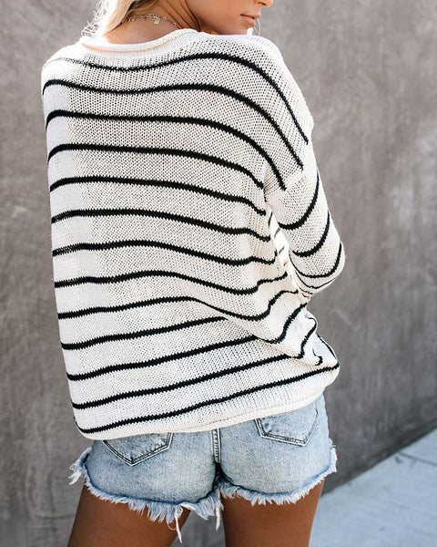 Striped Long Sleeve Loose Sweaters