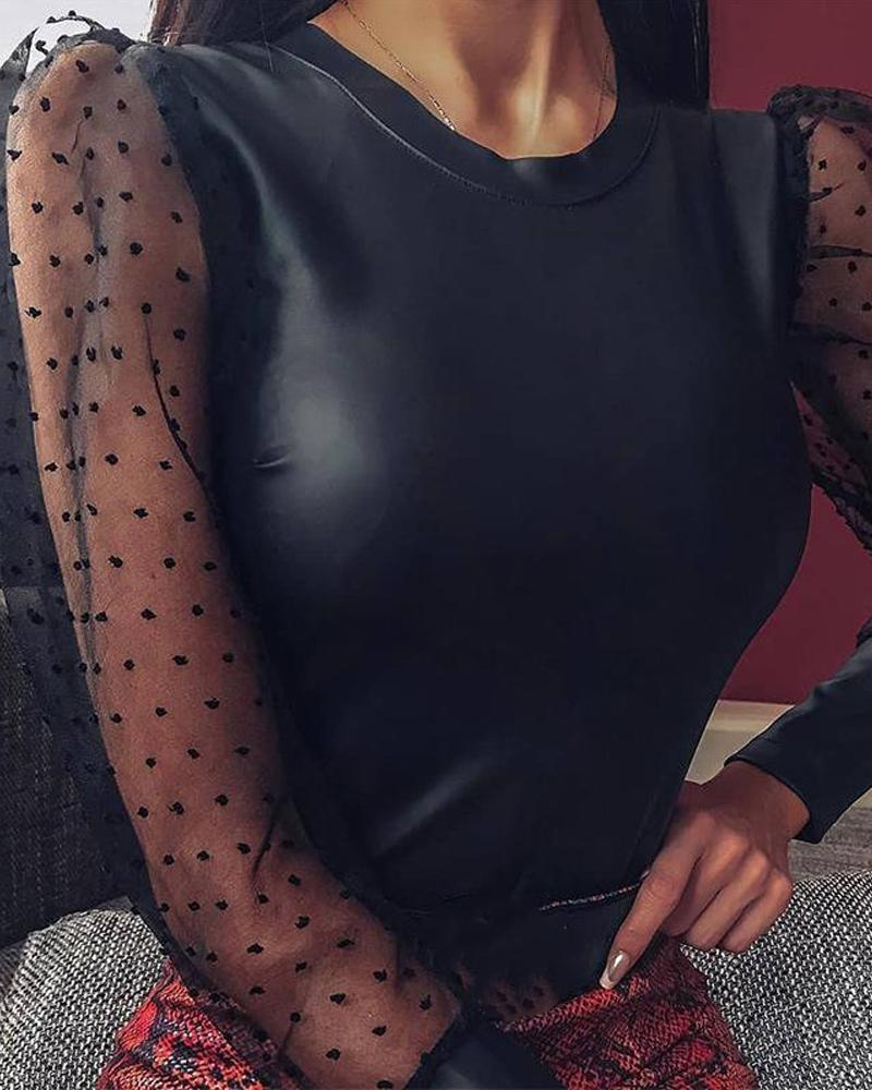Polka Dot Faux Leather Bodysuit