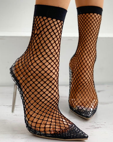 Pointed Toe Fishnet Mesh High-Heels