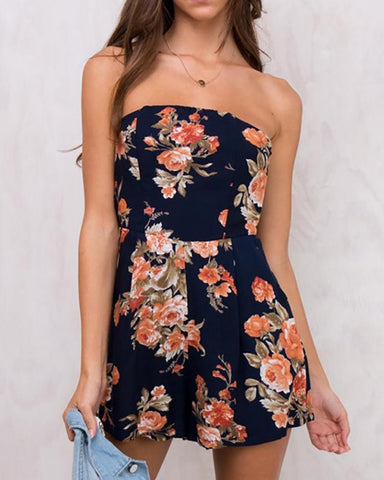 Fashion Floral Strapless Tied Open Back Romper