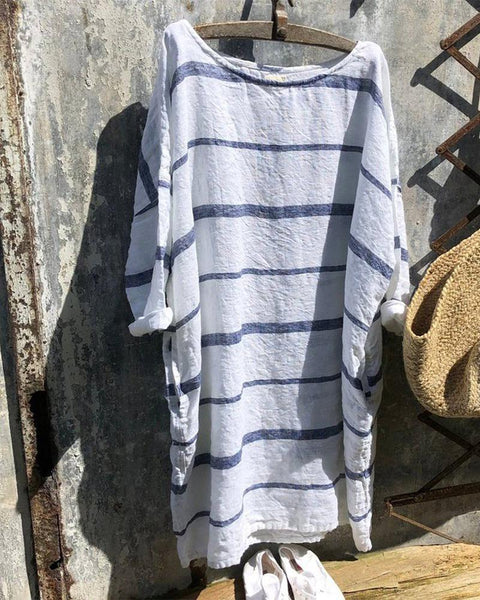Striped Long Sleeve Loose Dress