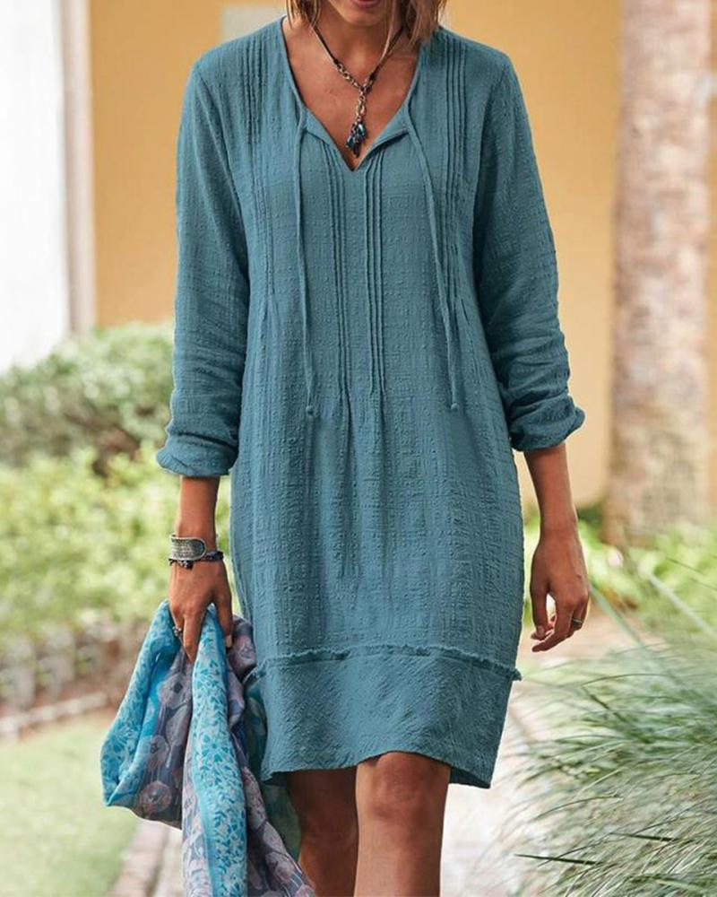 Solid Lace Up Long Sleeve Dress