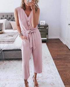 V-neck sexy lace-up jumpsuit