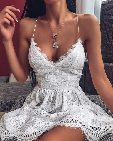 V neck Spaghetti Strap Eyelash Lace Dress