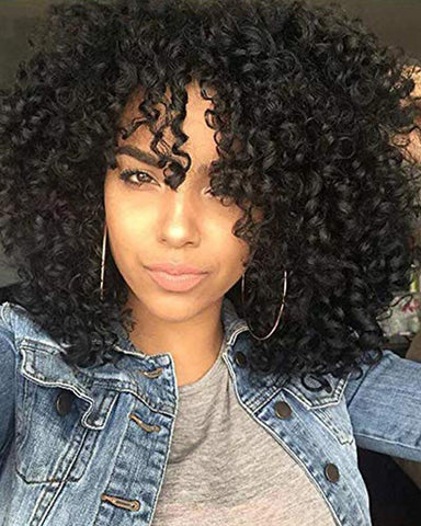 Curly Afro Shoulder Length Bangs Wig