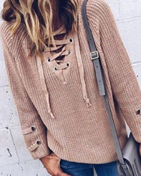 Crisscross V Neck Drawstring Sweater