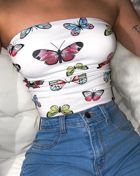 Butterfly Print Bandeau Top