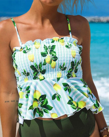 Lemon Print Ruffles Shirring Detail Swimsuit