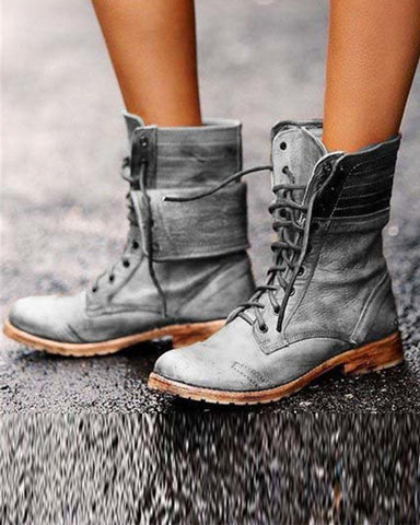 Solid Lace-Up Ankle Boots