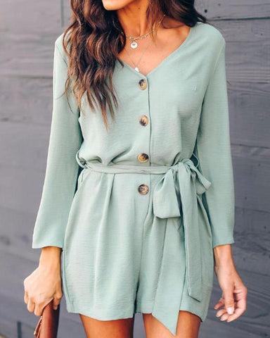V Neck Long Sleeve Single Button Waist Tie Knot Rompers