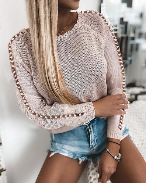 Beaded Hollow Out Long Sleeve Sweaters
