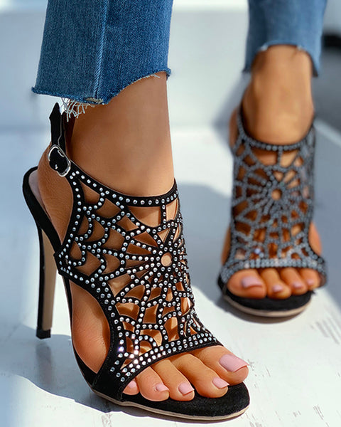Studded Hollow Out Ankle Strap Stiletto Heel