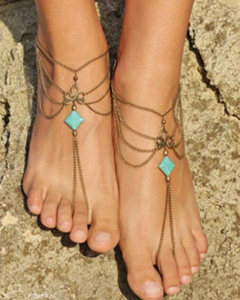 Bohemian Hollow Turquoise Multilayer Anklet