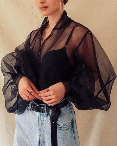Button Front Sheer Mesh Top