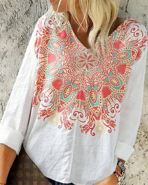 Floral Print V Neck Long Sleeve Loose Tops