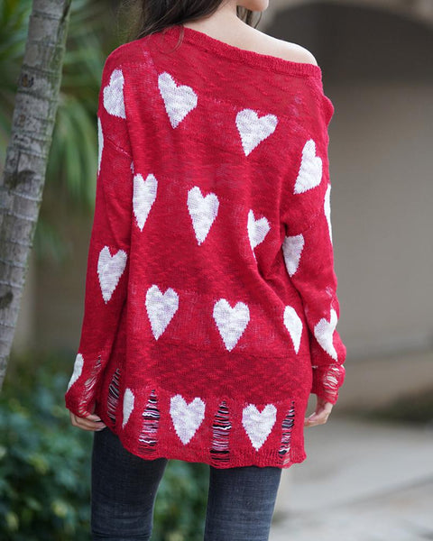 Heart Print Loose Oversized Hollow Sweater