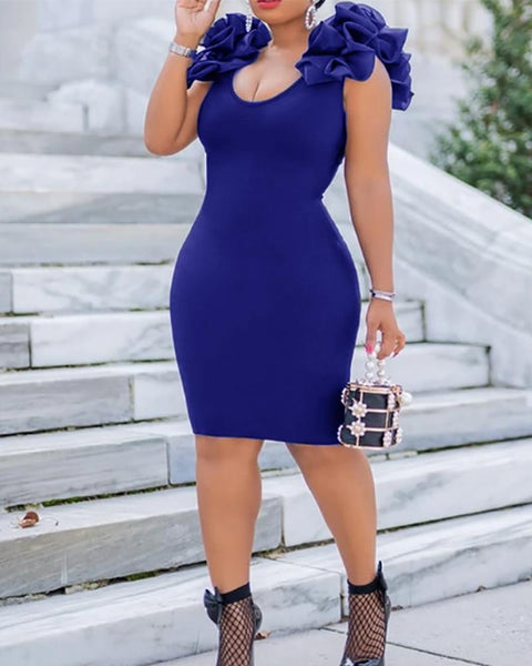 Ruffle Shoulder Bodycon Dress