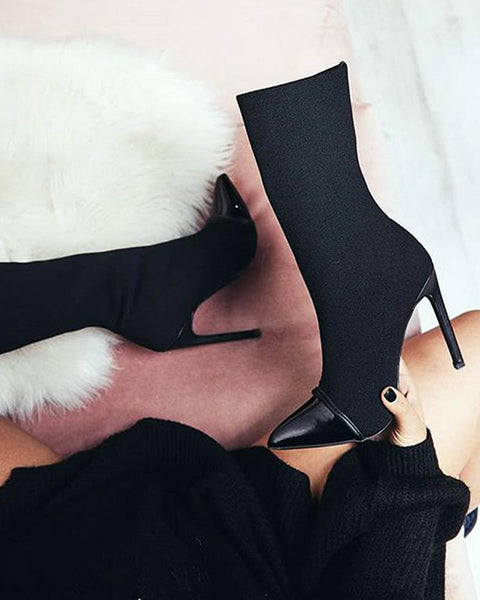 Colorblock Pointed High-heel Boots