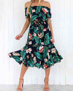 Floral Off Shoulder Tie Waist Casual Dress